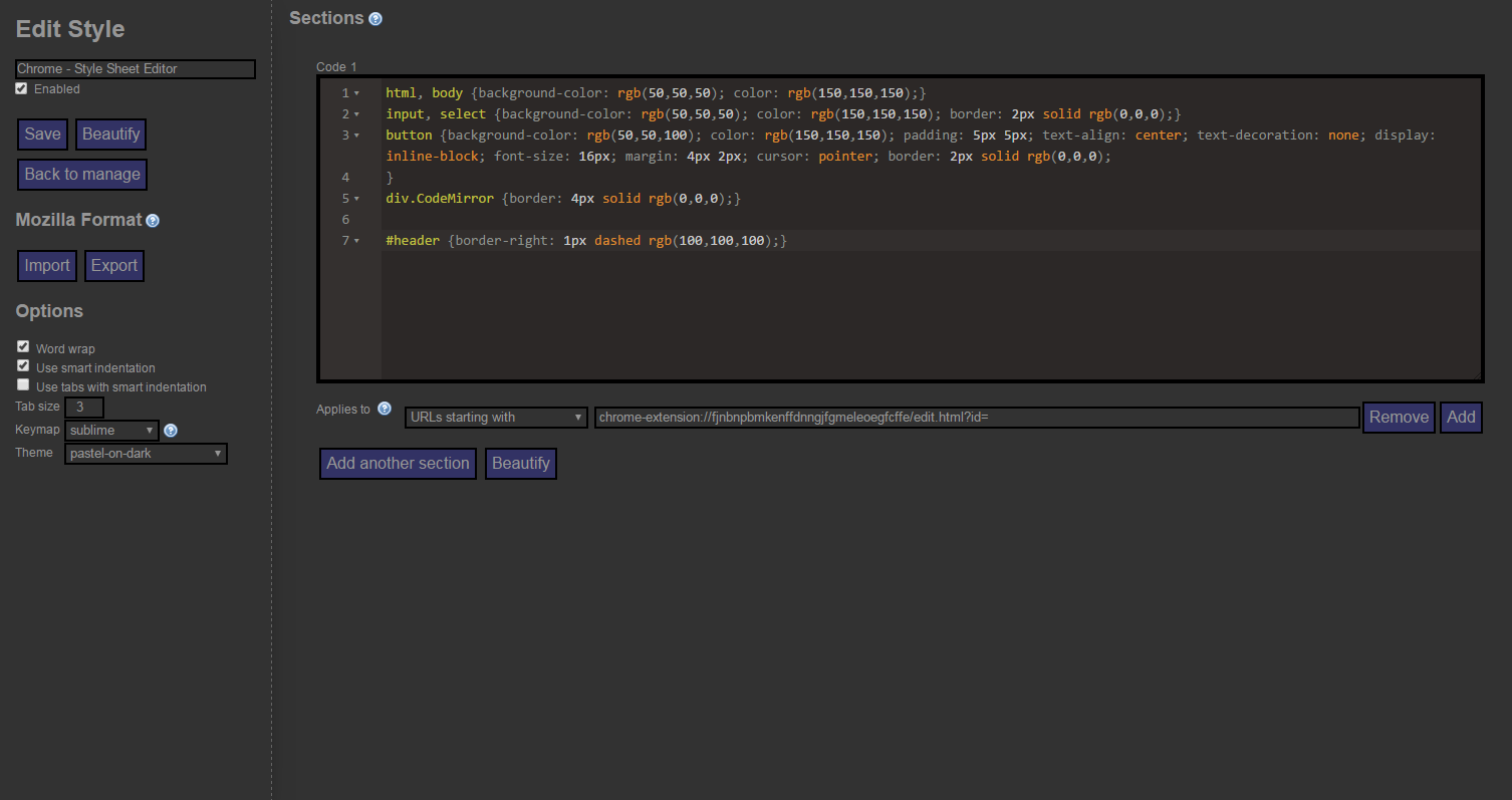 Google themes editor - With The Style Applied