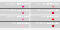 Sample Red / Pink - color names