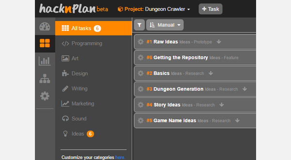 HacknPlan Tasks View