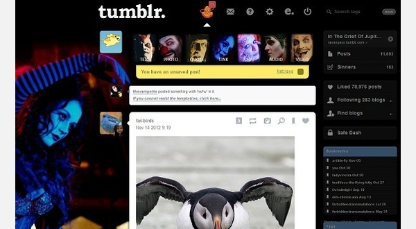 Tumblr dash with Wick background.