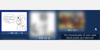 Non-safe thumbnails are blurred.